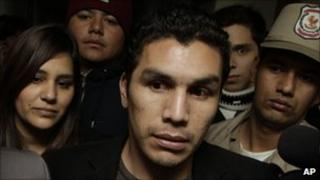 Paraguayan footballer Salvador Cabanas and his wife Maria Lorgia Mena arrive at court in Asuncion,