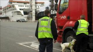 Sniffer dogs checking lorries at Calais