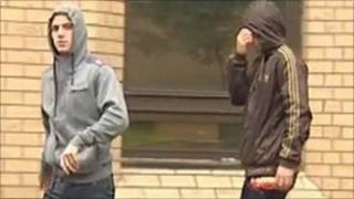 Outside Cardiff Magistrates' Court, the two men charged with burglary and endangering public safety