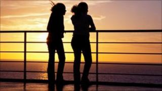 Two teenage girls watching sunset