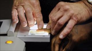 Man being fingerprinted