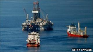 Ships near the site of the BP Deepwater Horizon oil spill, 03/04