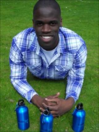 Edwin Broni-Mensah and his water bottles