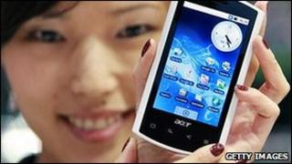 Taiwanese girl holding an Acer smart phone