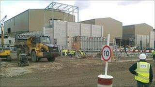 Construction work on the power station near Milford Haven