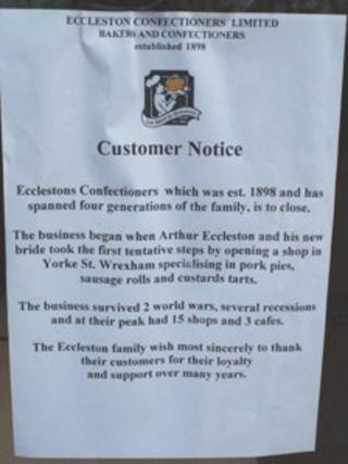 A notice in an Ecclestons shop in Wrexham, explaining that the business is to close