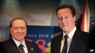Silvio Berlusconi and David Cameron