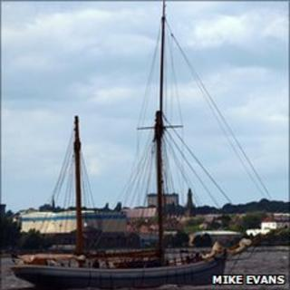 Mike Evans' photo of a boat on the River Mersey