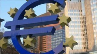 Euro symbol in front of the European Central Bank building