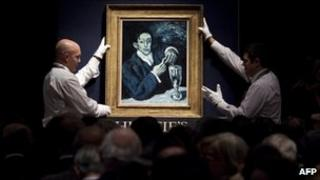 Pablo Picasso's Portrait d'Angel Fernandez de Soto during Christie's Impressionist and Modern Art Evening Sales on 23 June 2010 in London.