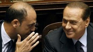 Italian Prime Minister Silvio Berlusconi (right) with Minister of Justice Angelino Alfano, Rome, 4 August 2010