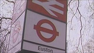 A sign at the front of Euston station