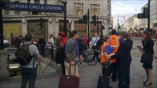 Outside Oxford Circus station following evacuation