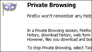 Screenshot of private browsing mode, Mozilla
