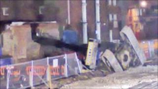 Scene of building site accident