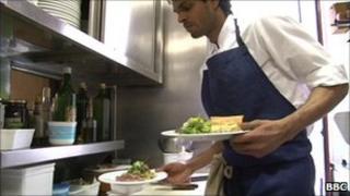 Immigrant working in a Paris restaurant