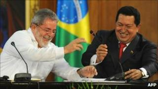 President Lula and President Chavez at a meeting in Caracas on 6 August 2010