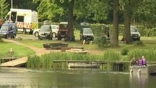 Search patrols at the lake in Shropshire where a best man went missing after a late night lake swim