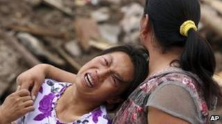 Survivors of the landslides in Zhouqu (9 August 2010)