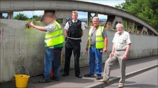 Left to right: Community Payback worker; Pc Gary Pethick; supervisor Peter Ernest; councillor John Williams