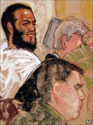 Courtroom sketch of Omar Khadr, top, at preliminary hearing on 9 August 2010