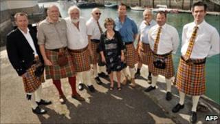 Locals show off their new tartan