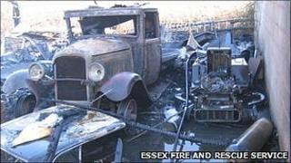 Burnt vintage car