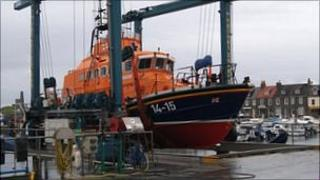 Alderney relief lifeboat out of water at St Sampson