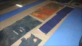 Carpet that was found with the woman's remains