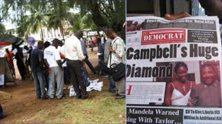 """People reading newspaper headlines at news stands in Liberia's capital, Monrovia (left) and someone holding the New Democrat newspaper which has the headline """"Campbell's Huge Diamond"""" (right)"""
