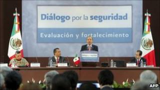 President Calderon addressing a national dialogue on security