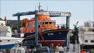 Guernsey lifeboat out of the water at St Sampson's harbour