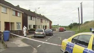The scene in Omagh outside a house where a woman was stabbed