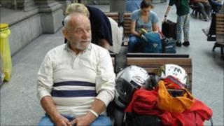 Luigi Ferrario waiting for train