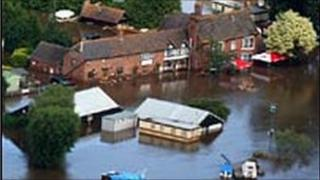 Flooding near Tewkesbury in July 2007