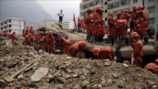 Rescue workers in Zhouqu, China, 11 August 2010