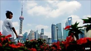 File image of tourist looking at the Bund in Shanghai