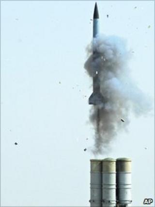 An S-300 missile blasts off from the Ashuluk firing range in southern Russia