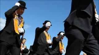 Orangemen parade in Portadown