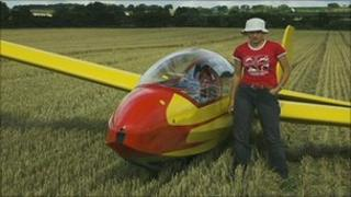 Amy Barsby and her glider