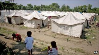 Aid camp in Nowshera, Pakistan