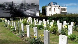 Hurricanes at Tangmere (BBC Archive); Tangmere control tower; RAF and German graves at Tangmere