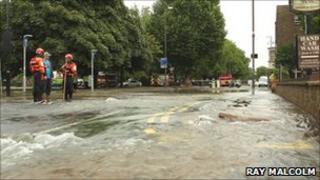 Water flooding London Road