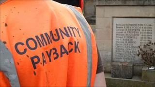 Offender in Community Payback vest