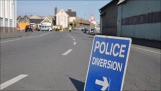 Police sign and accident investigation in the Vale, Guernsey