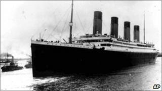 The Titanic sailing out of Southampton