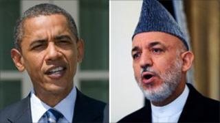 Barack Obama (L) and Hamid Karzai