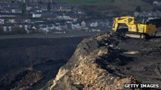 Digger at an opencast mine
