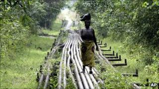 Oil pipeline near Shell's Utorogu flow station in Warri, Nigeria (file image)