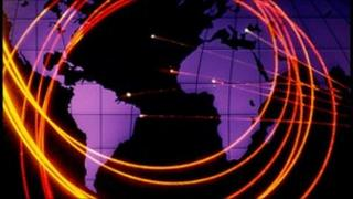Fiber-optic cables overlying world map
